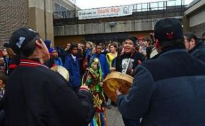 Photo of South High student walkout in 2013, image from Red Lake Nation News